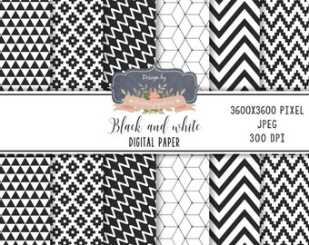 SALE Geometric, Black and white digital paper pack
