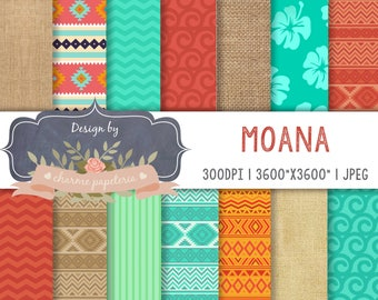 SALE Moana digital paper, Moana Princess, Moana Maui Turtle Digital papers, Moana Theme, Vaiana digital paper, Moana Pattern, hawaiian paper