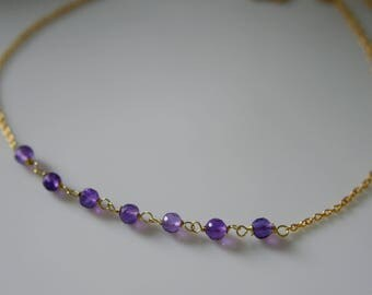 Tiny Flower necklace with purple amethyst faceted beads plated Silver 925