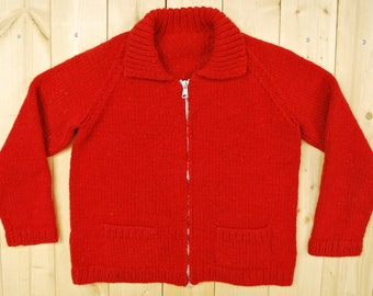 Vintage 1960's/70's Red COWICHAN Sweater / Plain Red Pattern / Retro Collectable Rare