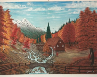 Old Water Mill in Autumn Surrounded by Mountains and Woods