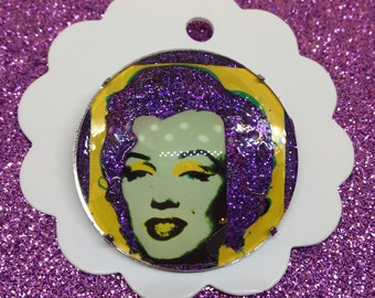 Marilyn Monroe Warhol inspired purple  glitter glass brooch