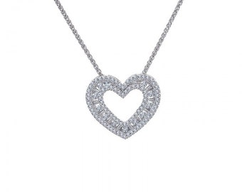 1.00 Carat Baguette Diamond Heart Pendant Necklace 14K White Gold