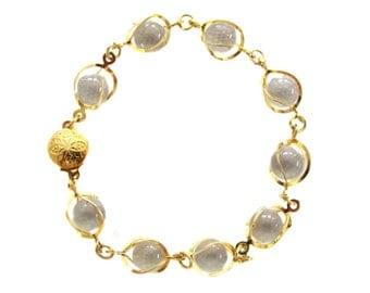 Vintage Gold Tone Pools of Light Crystal Balls Bracelet