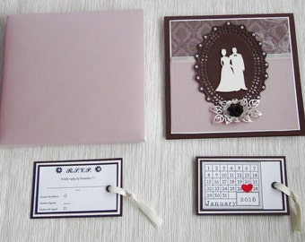 Modern Wedding Invitation, Summer Wedding Invitation Card, Floral Wedding Greeting Card, Gift Card Holder,  Elegant Wedding Invitation