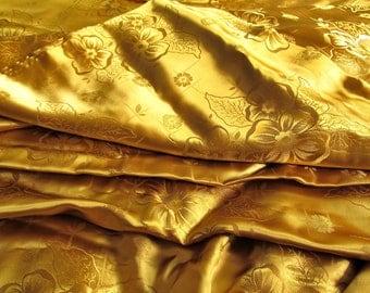 Brocade fabric - flower bouquet - gold  - luxurious silk taffeta