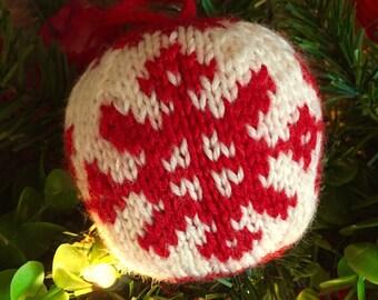 Snowflake - Christmas Ornament - Hand Knit
