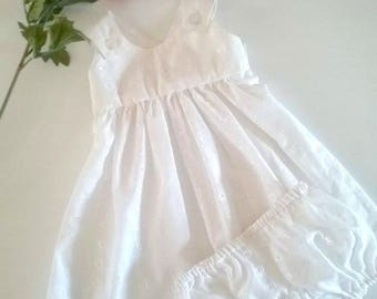 Girls Size 1 White Broderie Anglaise Sundress & Bloomer Set