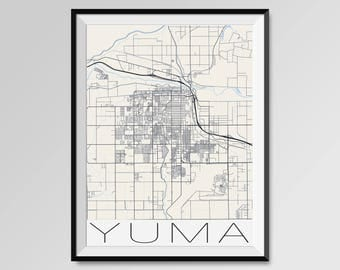 YUMA Arizona Map, Yuma City Map Print, Yuma Map Poster, Yuma Map Wall  Art, Yuma gift, Custom city, Personalized Arizona map