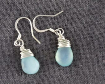 Wire wrapped aqua blue Chalcedony earrings