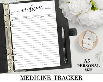 Printable MEDICINE TRACKER insert for your Personal and A5 planner_Health Prescription Tracker Medical Log Binder Filofax Insert
