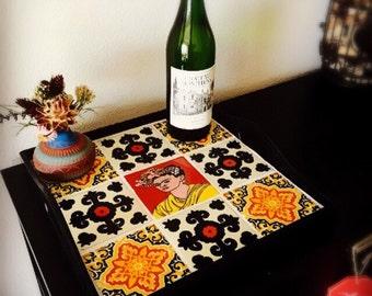 Serving tray,coffee table tray,ottoman tray,wood tray,tile tray,Mexican,housewarming,talavera tile, wedding gift,Frida Kahlo,organization