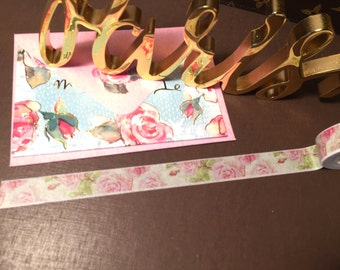 Delicate Peonie & Roses Washi Tape- 15MM