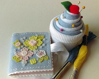 Needle Book, Cupcake Pin Cushion, Felt Needle Book, Pin Cushion, Felt Wool Felt Needle Book, Felt Sewing Case, Gifts For Her