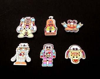 Buttons wood Robots sewing scrapbooking, clothing accessories design hand-painted cartoon custom Packs