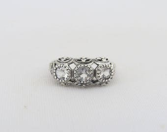 Vintage Sterling Silver Natural White Topaz Three stone Ring Size 6