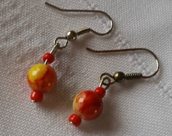 Orange and Red Ball Earrings