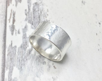 Wide Hammered Band, Wide Hammered Ring, Silver Cuff Ring, Hammered Silver Band, Wide Band, Statement Ring, Hammered Silver, Wide Band