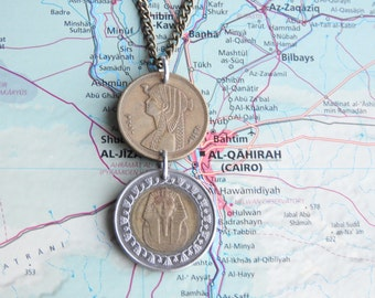 Egyptian double coin necklace/keychain - made of original coins from Egypt