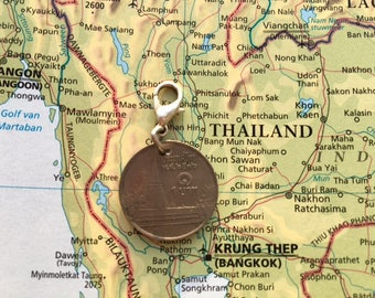 Thailand coin charm - 3 different designs - made of original coins from Thailand - Design your own charm bracelet!
