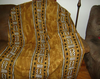 African Mudcloth Throw Tan Brown with Patterns Textile