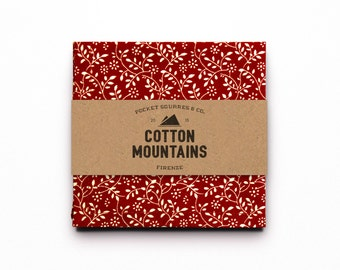 """Floral Red & White Pocket Square - 100% Cotton Fabric Handkerchief - Made in Italy - """"Bramble"""" model - Cotton Mountains accessories"""