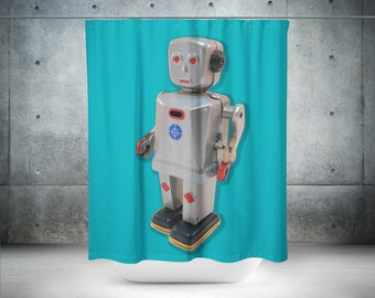 Aqua Shower Curtain Blue Shower Curtain Teal Shower Curtain Robot Shower Curtain
