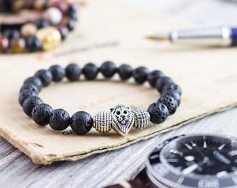 8mm - Black lava stone beaded silver Lion head stretchy bracelet, made to order yoga bracelet, mens bracelet, womens bracelet