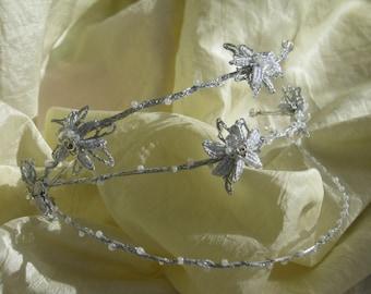 Wedding, First communion, Quinceanera tiara - Bobbin lace tiara - Bridal hairstyle