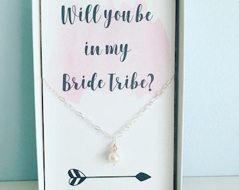 Blush necklace, bridesmaid necklace, will you be in my bridesmaid, bridesmaid gift, pearl necklace, blush wedding, gift for bridesmaids,