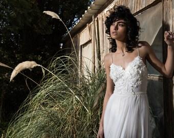 Lace wedding dress, Straps wedding dress, V neck wedding dress, unique wedding dress, Romantic wedding dress, Iman Wedding Dress