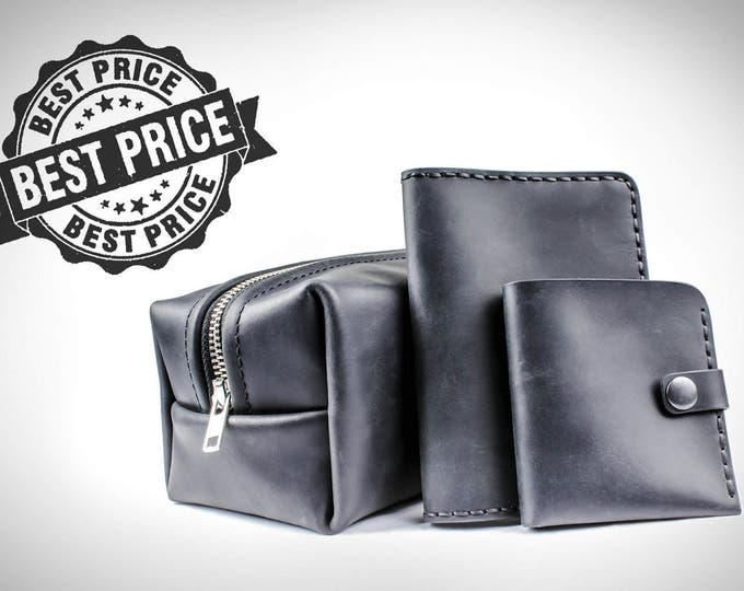 Personalized leather gift set - groomsmen gifts - personalized gifts for him - toiletry bag - passport cover - leather wallet - gifts idea