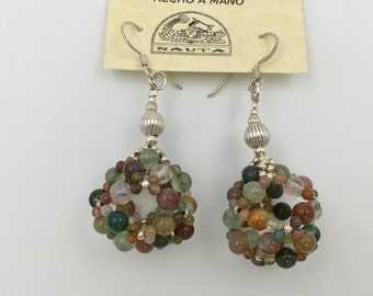 Earrings in silver and mossy agate