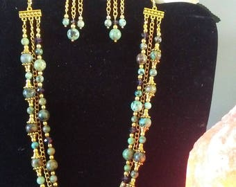 """African Turquoise Gemstone Necklace Set - """"Queen Of The Nile"""""""