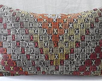 "Kilim Pillow, 1'3""2'0""Feet, 40cm ×60cm, Kilim Pillow Cover, Lumbar Pillow, Ethnic Pillow, Boho, Decor, Tribal, Turkish Kilim Pillow, Cushion"