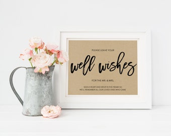 Wedding Sign Template   Well Wishes Sign   Wedding Sign   Printable Wedding Sign   5x7 & 8x10   EDN 5474