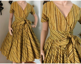Vintage 1950s yellow wrap day cotton summer sun dress medium 318