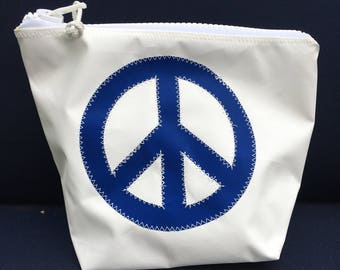 Sunblock Bag -Blue Peace Sign - Made from Recycled Sail