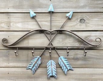 Metal Bow and Arrows Wall Hook Rack in Bronze and Aqua Finish, Native American, Tribal