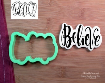 Believe (Peace) Lettering Cookie Cutter. Ornament Cookie Cutter. Christmas Cookie Cutter. Baking Gifts. Baby Shower Cookies. Fondant Molds.
