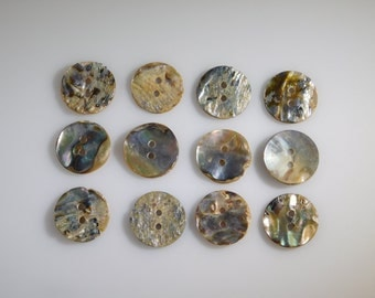 Abalone Buttons, RARE Set of 12 Mother of Pearl 2 Hole 20mm Collectible Antiques for High Quality Jewelry Crafts Clothing Artisans & Sewing