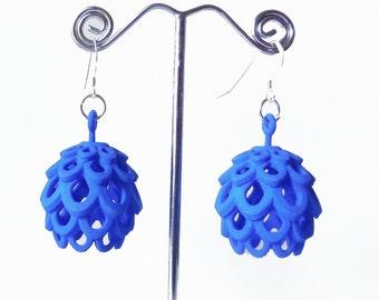 Artichoke  - Blue  3D Printed Earrings