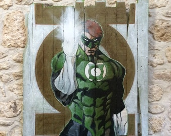 Table superhero comics on reclaimed pallet wood