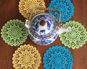 Doilies crochet color Ordering Set Of 6 Crochet Cup holder crochet decorations crochet doily small openwork napkins thread 100% cotton .