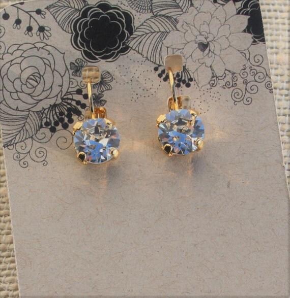 8mm Swarovski crystal lever back earrings, empty cup earrings