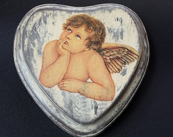 wooden heart with angel, vintage style heart