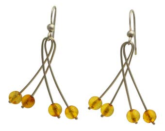 Amber Chandelier Drop Earrings