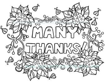 many thanks ladybug adult coloring page colouring coloring for grown ups hand drawn - Thank You Coloring Pages