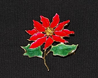 Vintage Poinsettia Brooch, Christmas Holiday Brooch, Red Flower Brooch, Jewellery, Gift For Her, Red, Green & Gold Color