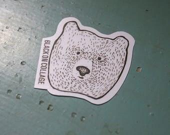 Bear Sticker - Black & White,darkness,weird,creepy,scared,dead,line,dot,bear,cute bear,bear's head